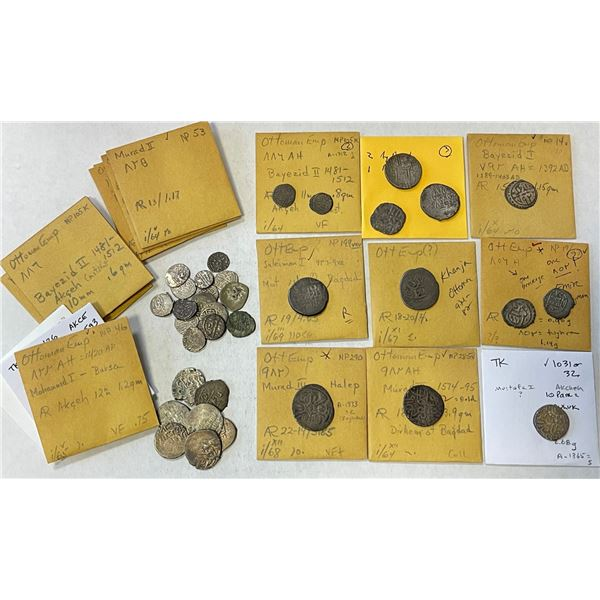 OTTOMAN EMPIRE: LOT of 40 Ottoman & 3 other silver coins, including a few better pieces