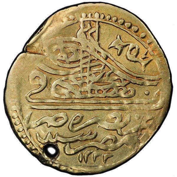 EGYPT: Mustafa IV, 1807-1808, AV zeri mahbub, Misr, AH1222 year 1. PCGS VF