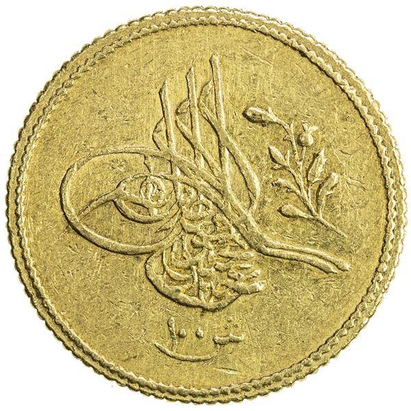 EGYPT: Abdul Mejid, 1839-1861, AV 100 qirsh (8.52g), Misr, AH1255 year 1. EF