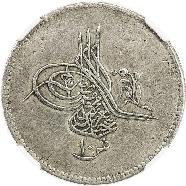 EGYPT: Abdul Aziz, 1861-1876, AR 10 qirsh, Misr, AH1277 year 2. NGC EF