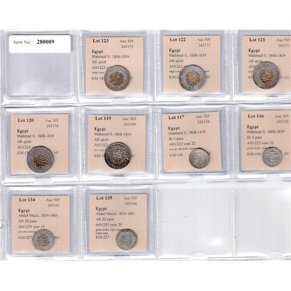 EGYPT: LOT of 9 silver Ottoman Egyptian coins of Mahmud II and Abdul Mejid