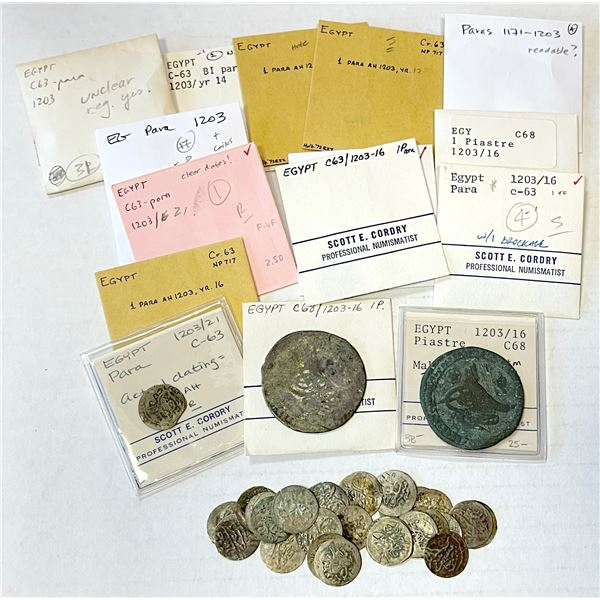 EGYPT: LOT of 54 billon coins of Selim III