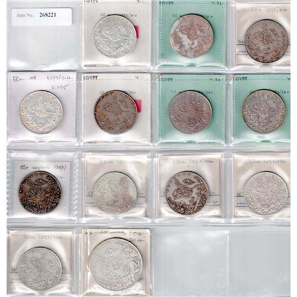 EGYPT: LOT of 13 silver coins of Abdul Hamid II