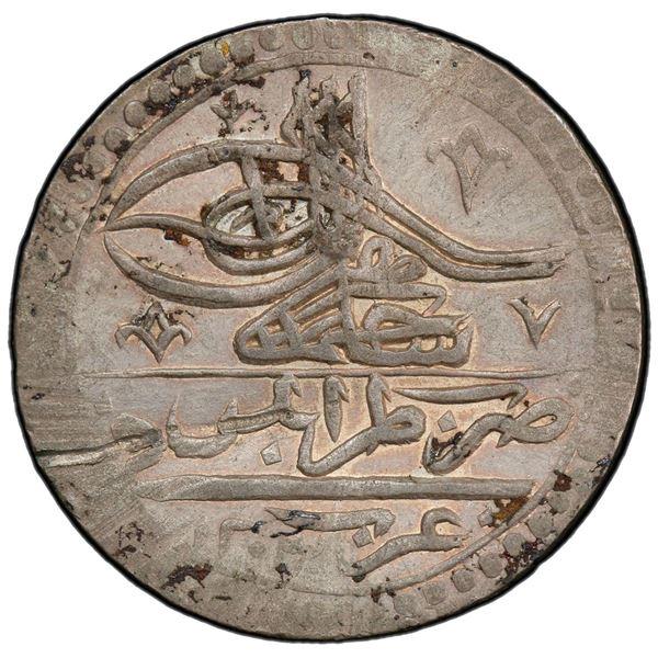TRIPOLI: Selim III, 1789-1807, AR 100 para (yuzluk), Tarabalus Gharb, AH1203 year 10. PCGS AU
