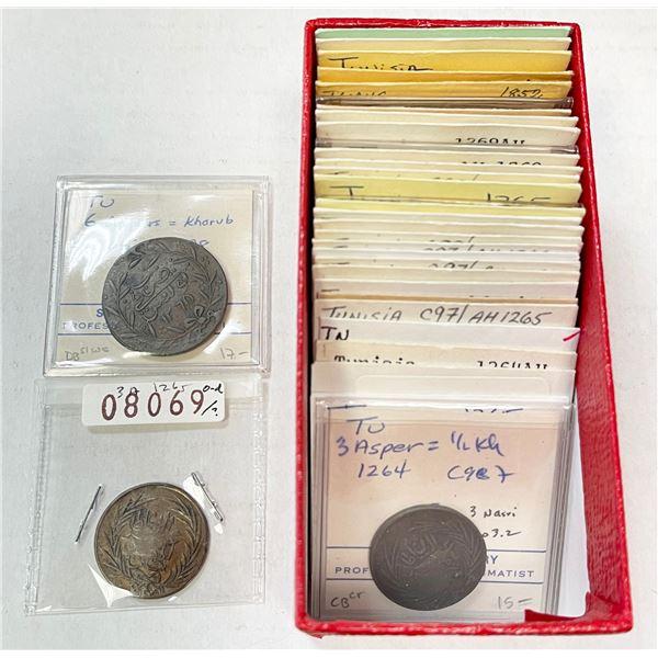 TUNIS: LOT of 34 copper coins of Sultan Abdul Mejid