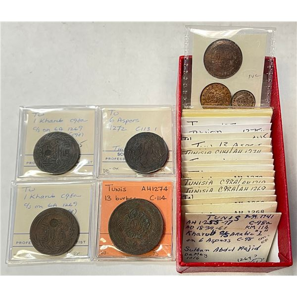 TUNIS: LOT of 29 mostly copper coins
