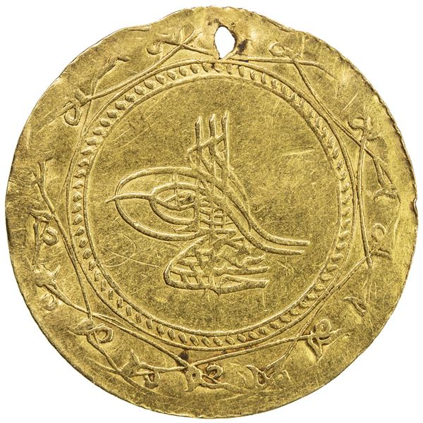 TURKEY: Abdul Hamid I, 1774-1789, AV 1 1/2 altin (4.03g), Kostaniniye, AH1187 year 11. VF