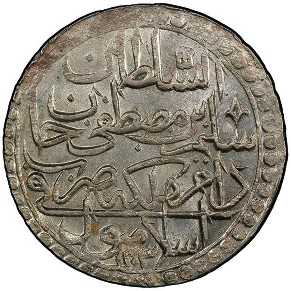 TURKEY: Selim III, 1789-1807, AR 2 zolota, Islambul, AH1203 year 2. PCGS MS64