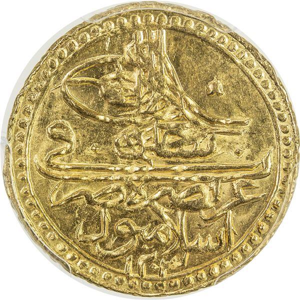 TURKEY: Selim III, 1789-1807, AV zeri mahbub, Islambul, AH1203 year 12. PCGS MS64