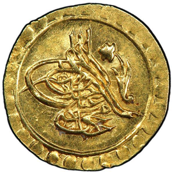 TURKEY: Mahmud II, 1808-1839, AV rubiye (0.83g), Kostantiniye, AH1223 year 2. PCGS MS64