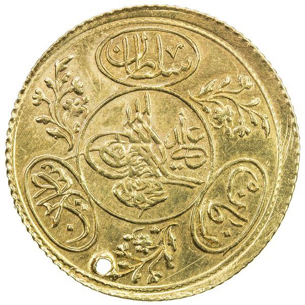 TURKEY: Mahmud II, 1808-1839, AV hayriye (3.52g), Kostantiniye, AH1223 year 21. EF