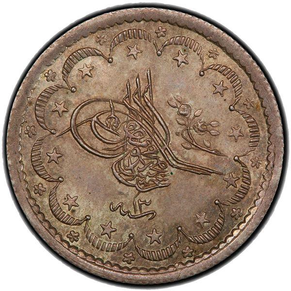 TURKEY: Abdul Mejid, 1839-1861, AR 5 kurush, Kostantiniye, AH1255 year 13. PCGS MS66