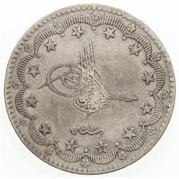 TURKEY: Murad V, 1876, AR 20 kurush, AH1293 year 1. VF