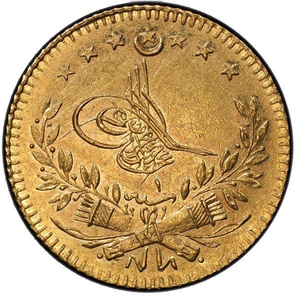 TURKEY: Murad V, 1876, AV 25 kurush, Kostantiniye, AH1293 year 1. PCGS AU58