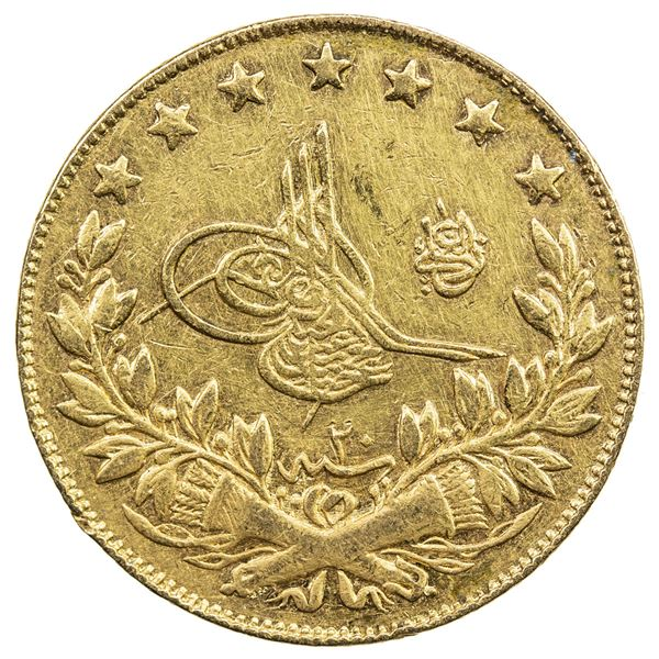 TURKEY: Abdul Hamid II, 1876-1909, AV 100 kurush, Kostantiniye, AH1293 year 20. VF