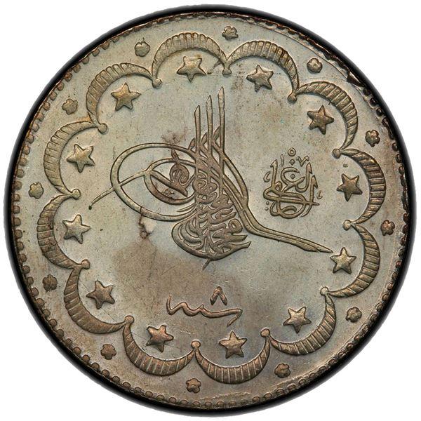 TURKEY: Mehmet V, 1909-1918, AR 10 kurush, Kostantiniye, AH1327 year 8. PCGS MS65