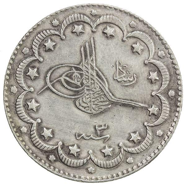 TURKEY: Mehmet V, 1909-1918, AR 10 kurush, Salanik, AH1327 year 3. EF