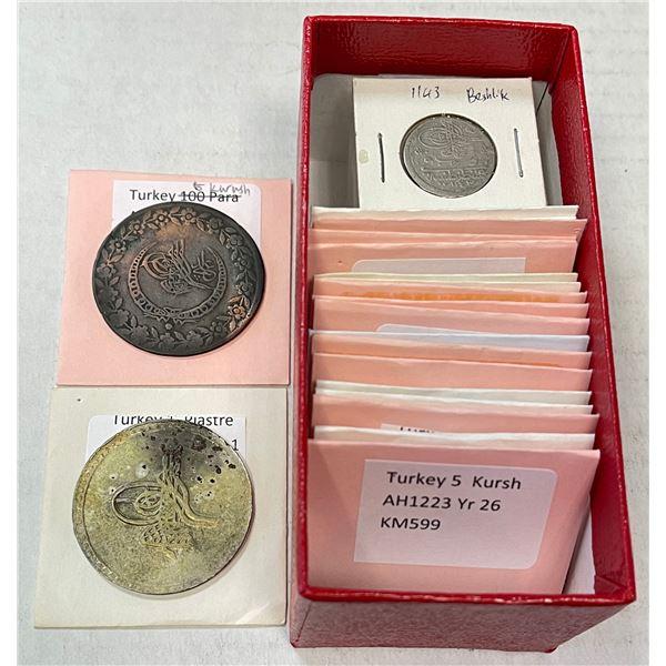 TURKEY: LOT of 49 silver & billon coins from Mustafa II to Abdul Mejid