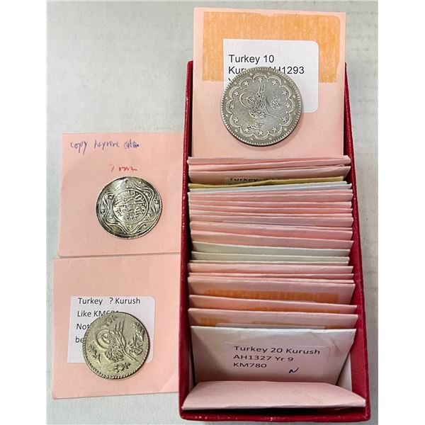 TURKEY: LOT of 22 modern Ottoman coins (including 14 silver), 7 countermarked coins, 2 fantasies