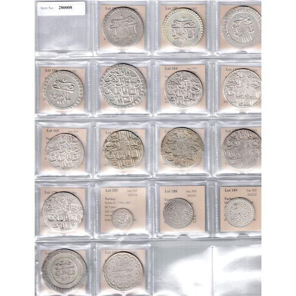 TURKEY: LOT of 17 silver Ottoman Turkish coins