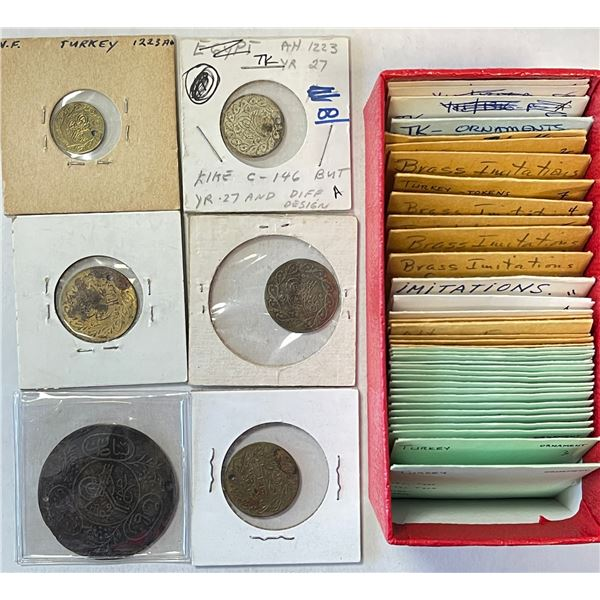 TURKEY: LOT of 110 gambling tokens, nearly all based on the gold coins of Mahmud II