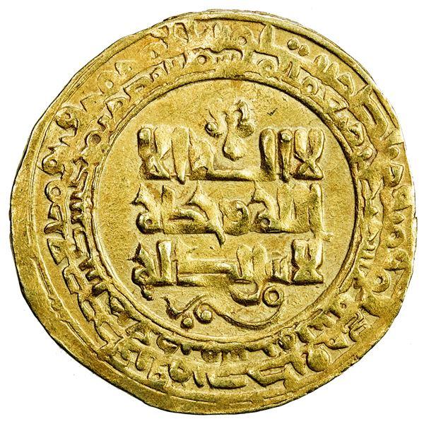 GHAZNAVID: Mas'ud I, 1030-1041, AV dinar (3.66g), Ghazna, AH423. VF-EF