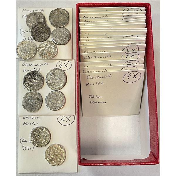 GHAZNAVID: Mas'ud I, 1030-1041, LOT of 67 silver dirhams, including several mints