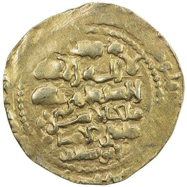 GHAZNAVID: Mas'ud III, 1099-1115, AV dinar (4.51g) (Ghazna), AH(49)2. VF