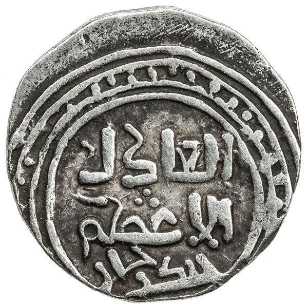 GREAT MONGOLS: Chingiz Khan, 1206-1227, AR dirham (3.14g), NM (Ghazna), ND. VF-EF