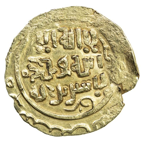 GREAT MONGOLS: Anonymous, ca. 1220s-1240s, AV dinar (3.34g), NM, ND. EF