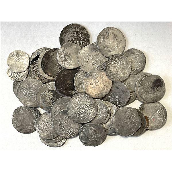 CHAGHATAYID KHANS: LOT of 46 kebeki dinars and 9 small denomination silver coins