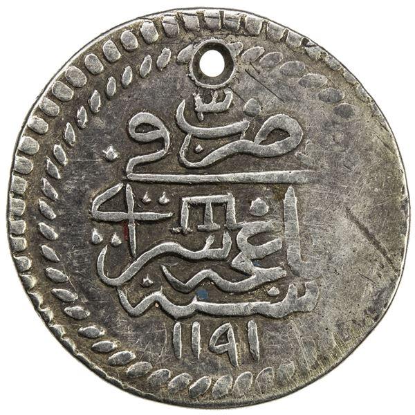 GIRAY KHANS: Shahin Giray, 1777-1783, AR 10 para (3.18g), Baghcha-Saray, AH1191 year 3. VF