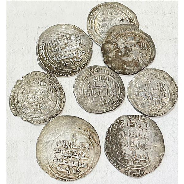 ILKHAN: Hulagu, 1256-1265, LOT of 8 silver dirhams of the Iraqi mints (not the common mint Mardin)