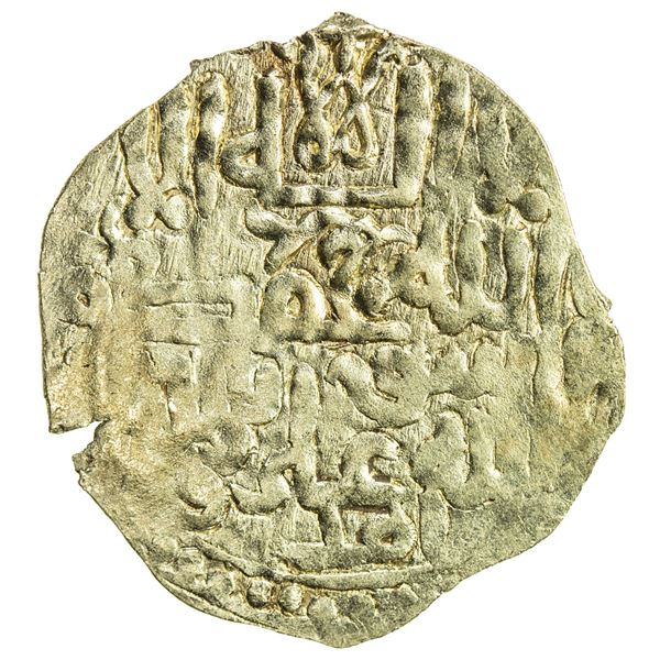 ILKHAN: Anonymous Qa'an al-'Adil, electrum dinar (1.67g), MM, ND. VF