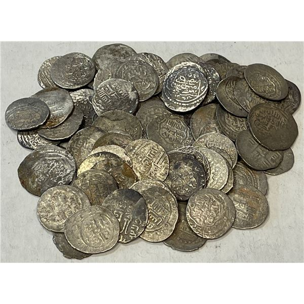 ILKHAN: LOT of 74 small silver coins, almost all issues of either Taghay Timur or Sulayman