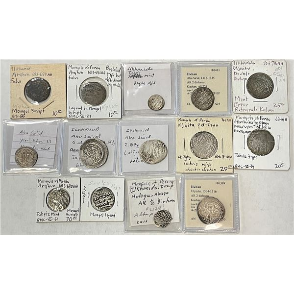 ILKHAN:LOT of 12 silver and 2 copper coins