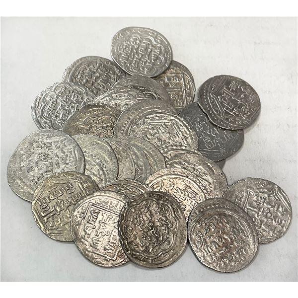 MUZAFFARID: Shah Shuja', 1358-1386, LOT of 30 silver double dirhams