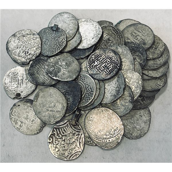 TIMURID: Timur, 1370-1405, LOT of 46 silver tankas, many different design types