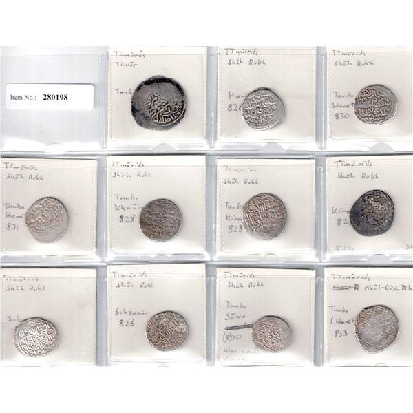 TIMURID: LOT of 11 silver tankas