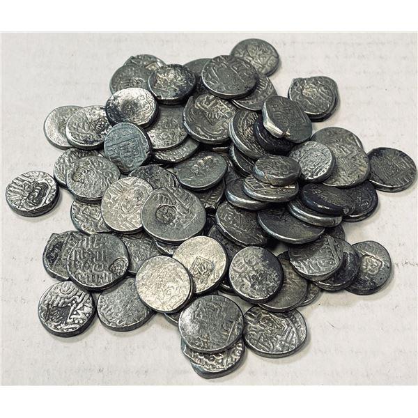 AQ QOYUNLU: LOT of 75 countermarked silver tankas