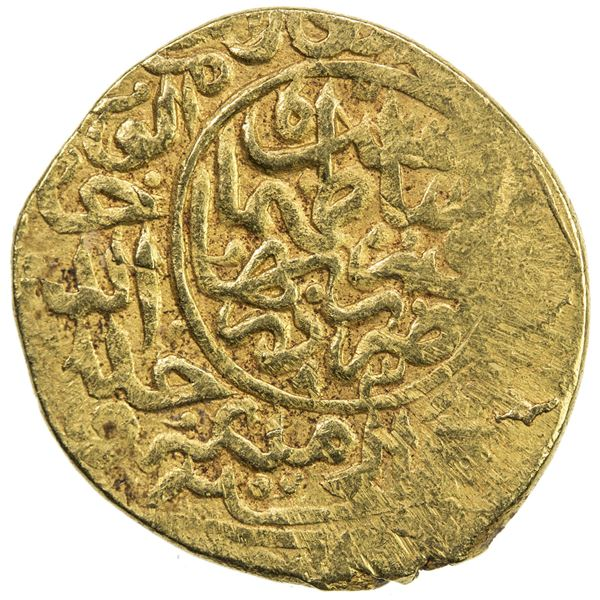 SAFAVID: Tahmasp I, 1524-1576, AV heavy ashrafi (3.85g), Qumm, AH93(8). VF
