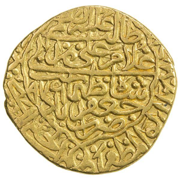 SAFAVID: Tahmasp I, 1524-1576, AV mithqal (4.62g), Ja'farabad, AH976. VF-EF