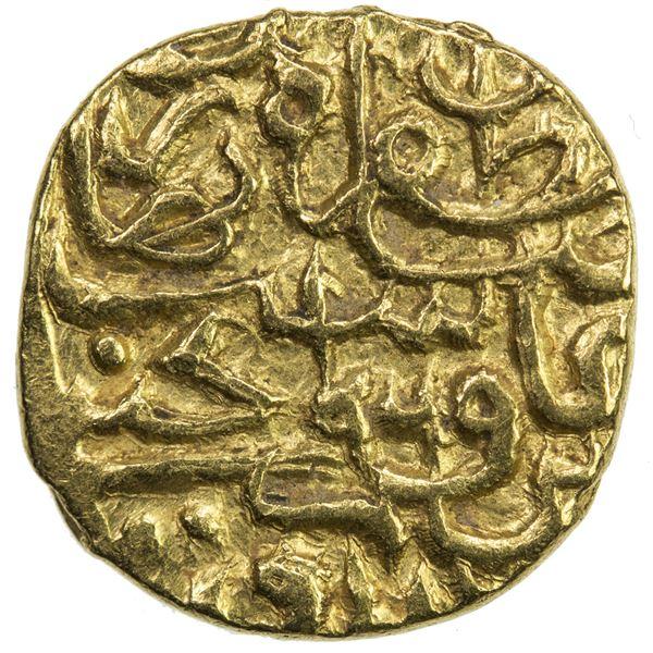 SAFAVID: Tahmasp I, 1524-1576, AV 1/4 mithqal (1.14g), Qumm, AH960. EF