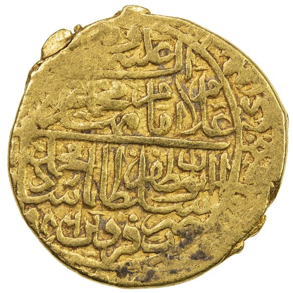 SAFAVID: Muhammad Khudabandah, 1578-1588, AV mithqal (4.60g), Qazwin, AH986. VF