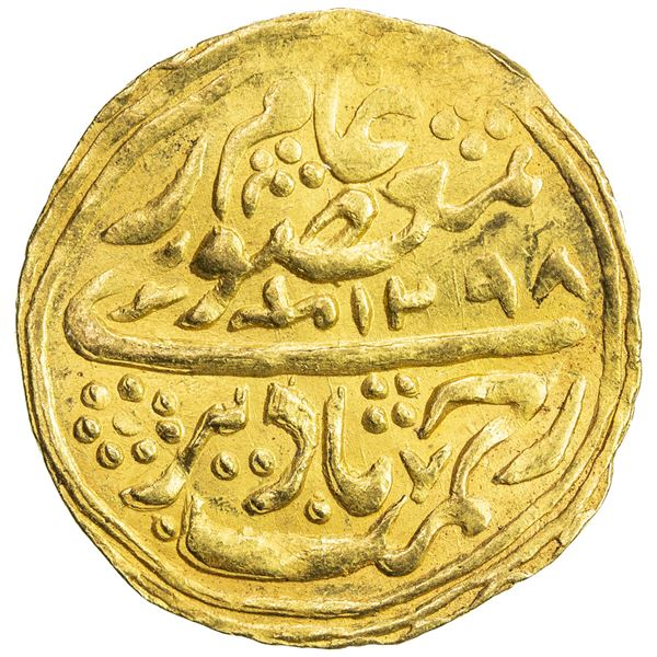 MANGHIT OF BUKHARA: Muzaffar al-Din, 1860-1886, AV tilla (4.66g), Bukhara, AH1298. VF