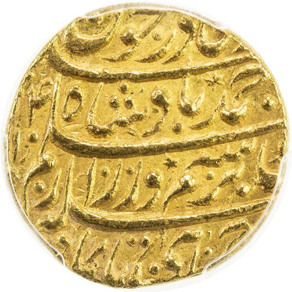 DURRANI: Ahmad Shah, 1747-1772, AV mohur (10.85g), Shahjahanabad (Dehli), AH1174 year 14. PCGS MS63
