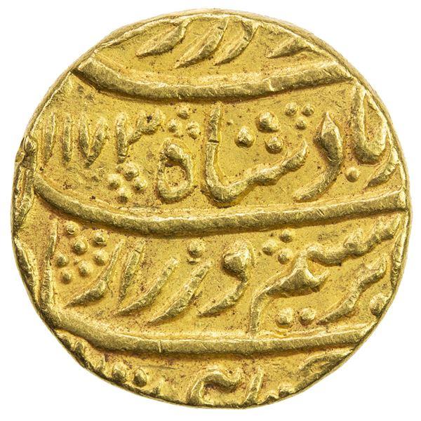 DURRANI: Ahmad Shah, 1747-1772, AV mohur (10.83g), Shahjahanabad (Delhi), AH1173 year 14. VF-EF