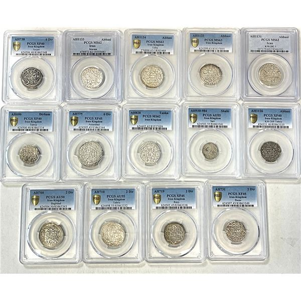MEDIEVAL ISLAMIC: IRAN: LOT of 14 PCGS-certified hammered silvers