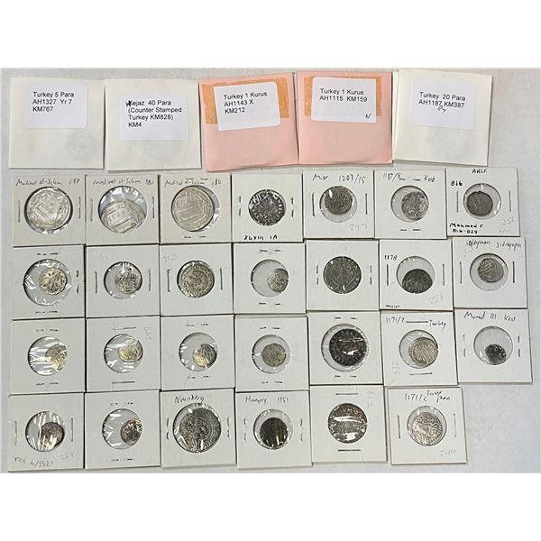 MEDIEVAL ISLAMIC: LOT of 32 coins, mostly silver