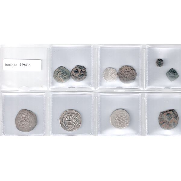 MEDIEVAL ISLAMIC: LOT of 4 silver and 6 copper coins